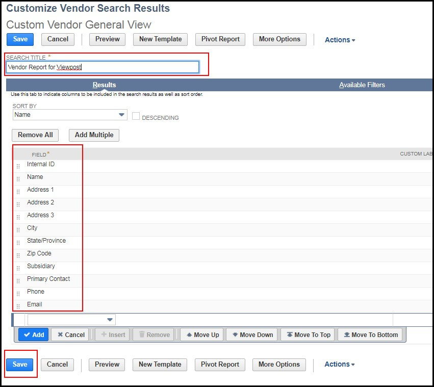 Exporting Vendor List From Netsuite  Viewpost Support Center
